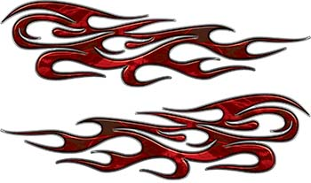 Traditional Style Flame Graphics with Silver Outline in Red Camo