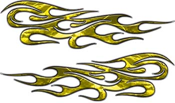 Traditional Style Flame Graphics with Silver Outline in Yellow Camo