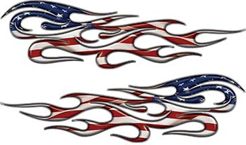 Traditional Style Flame Graphics with Silver Outline with American Flag