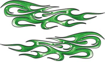 Traditional Style Flame Graphics with Silver Outline in Green