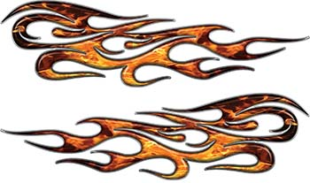 Traditional Style Flame Graphics with Silver Outline in Inferno