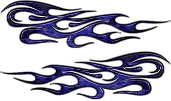 Traditional Style Flame Graphics with Silver Outline in Blue Inferno