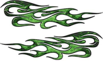 Traditional Style Flame Graphics with Silver Outline in Green Inferno