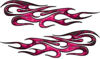 Traditional Style Flame Graphics with Silver Outline in Pink Inferno