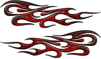 Traditional Style Flame Graphics with Silver Outline in Red Inferno