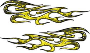 Traditional Style Flame Graphics with Silver Outline in Yellow Inferno