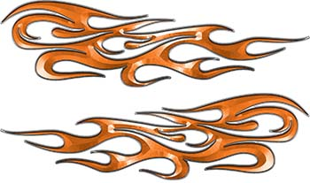 Traditional Style Flame Graphics with Silver Outline in Orange