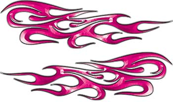 Traditional Style Flame Graphics with Silver Outline in Pink