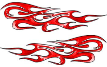 Traditional Style Flame Graphics with Silver Outline in Red