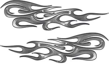 Traditional Style Flame Graphics with Silver Outline in Silver