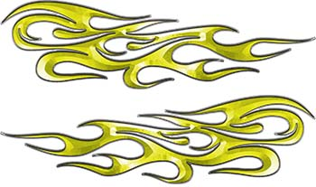 Traditional Style Flame Graphics with Silver Outline in Yellow