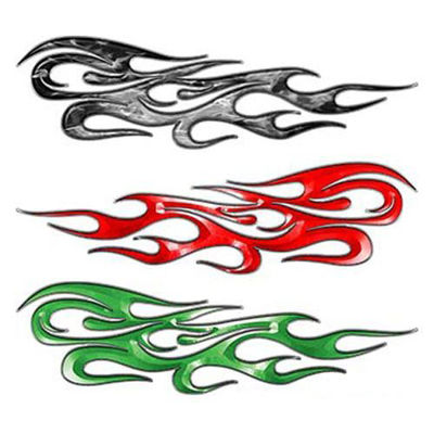 Tribal Flame Decals with Silver Outline