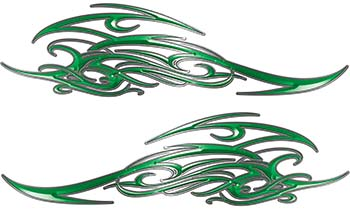 Tribal Scroll Style Flame Graphics with Silver Outline in Green