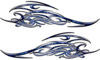 Tribal Scroll Style Flame Graphics with Silver Outline in Blue Inferno