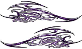 Tribal Scroll Style Flame Graphics with Silver Outline in Purple Inferno