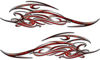 Tribal Scroll Style Flame Graphics with Silver Outline in Red Inferno