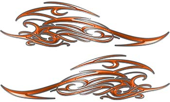 Tribal Scroll Style Flame Graphics with Silver Outline in Orange