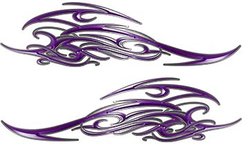 Tribal Scroll Style Flame Graphics with Silver Outline in Purple