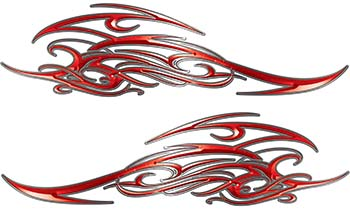 Tribal Scroll Style Flame Graphics with Silver Outline in Red