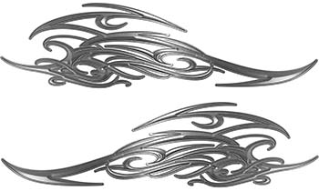 Tribal Scroll Style Flame Graphics with Silver Outline in Silver