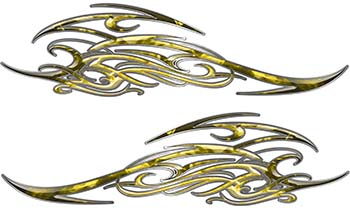 Tribal Scroll Style Flame Graphics with Silver Outline in Yellow