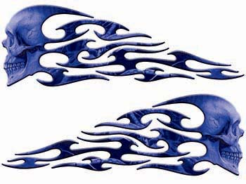 Tribal Style Evil Skull Flame Graphics in Blue Camo