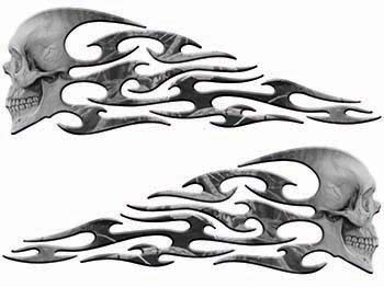Tribal Style Evil Skull Flame Graphics in Gray Camo