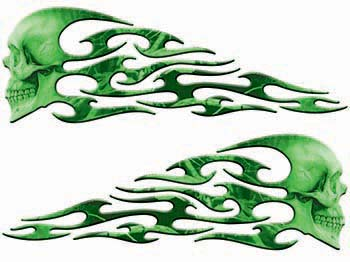 Tribal Style Evil Skull Flame Graphics in Green Camo