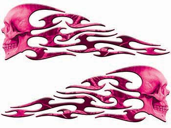 Tribal Style Evil Skull Flame Graphics in Pink Camo