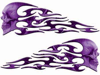 Tribal Style Evil Skull Flame Graphics in Purple Camo