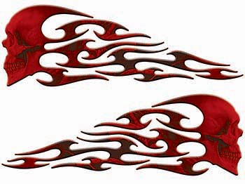 Tribal Style Evil Skull Flame Graphics in Red Camo