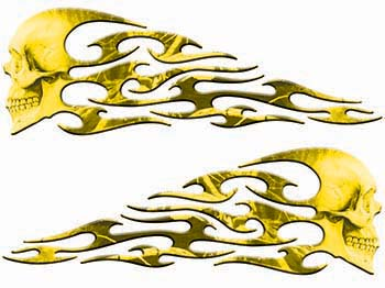 Tribal Style Evil Skull Flame Graphics in Yellow Camo