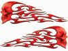 Tribal Style Evil Skull Flame Graphics in Red Diamond Plate