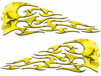 Tribal Style Evil Skull Flame Graphics in Yellow Diamond Plate