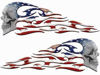 Tribal Style Evil Skull Flame Graphics with American Flag