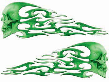 Tribal Style Evil Skull Flame Graphics in Green