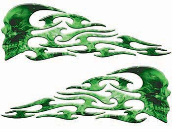 Tribal Style Evil Skull Flame Graphics with Green Inferno Flames