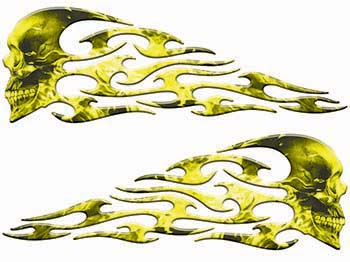 Tribal Style Evil Skull Flame Graphics with Yellow Inferno Flames