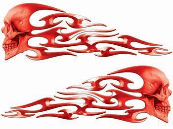 Tribal Style Evil Skull Flame Graphics in Red