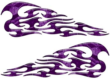 Tribal Style Flame Decals in Purple Camouflage