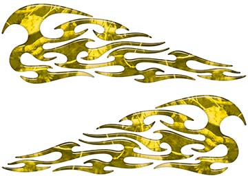 Tribal Style Flame Decals in Yellow Camouflage