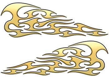 Tribal Style Flame Graphics in Gold