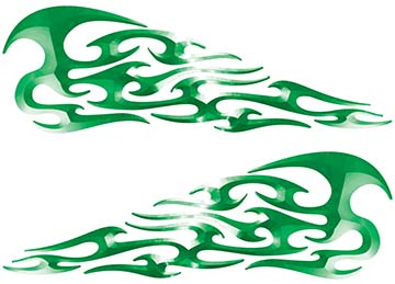 Tribal Style Flame Decals in Green