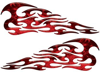 Tribal Style Flame Graphics in Inferno Red