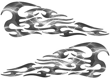 Tribal Style Flame Decals in Lightning Gray
