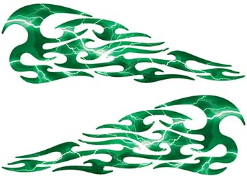 Tribal Style Flame Decals in Lightning Green