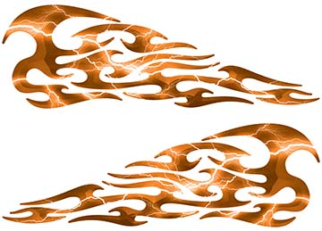 Tribal Style Flame Decals in Lightning Orange