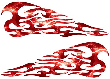 Tribal Style Flame Decals in Lightning Red
