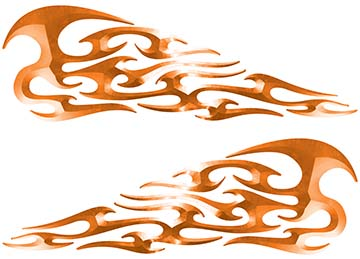 Tribal Style Flame Decals in Orange
