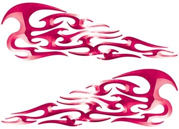 Tribal Style Flame Decals in Pink